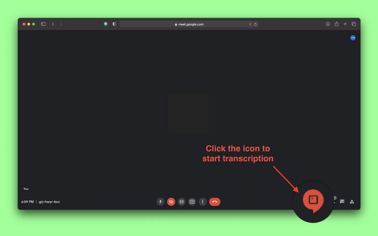 Click the icon to start transcription