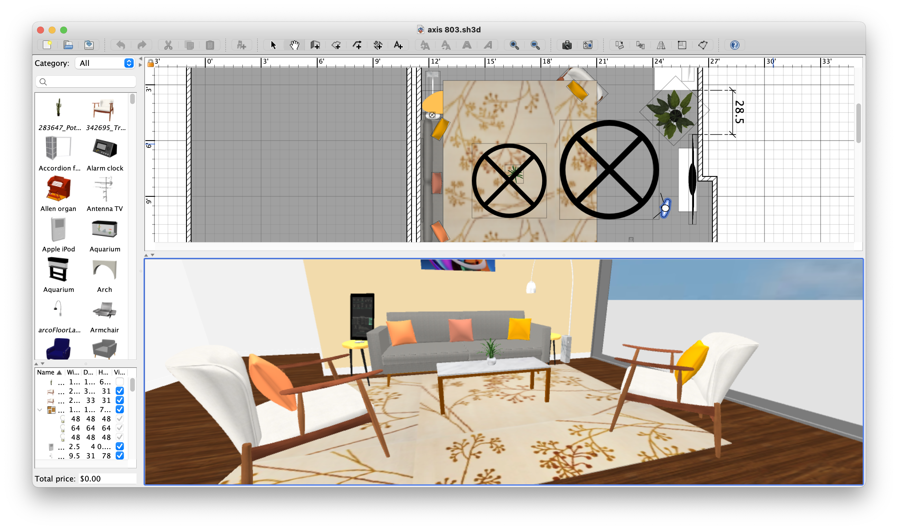 Sweet Home 3D example layout