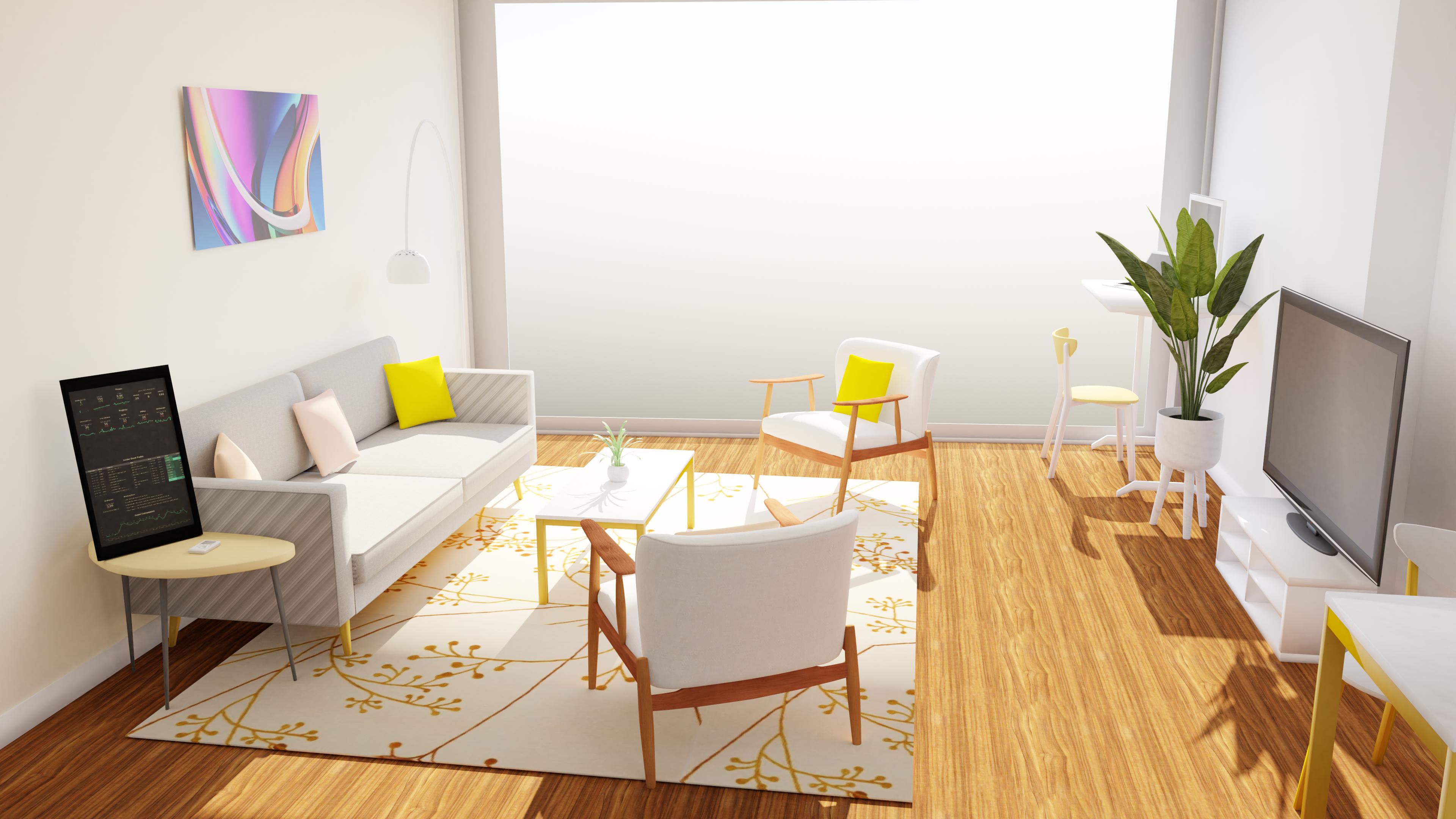 Living room render in Blender